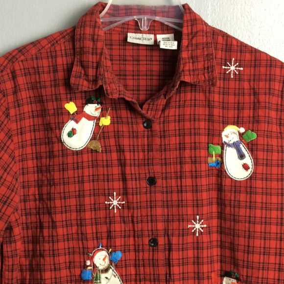 b4cc047f Cabin Creek Tops   Red Black Cotton Holiday Shirt Sz M   Poshmark